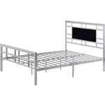 Queen Modern Classic Silver Metal Platform Bed Frame with Upholstered Headboard