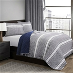 Queen Gray Navy Stripe Motif 100% Cotton Reversible Quilt Coverlet Bedspread Set
