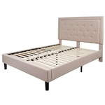 Queen Beige Upholstered Platform Bed Frame with Button Tufted Headboard