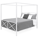 Queen size Modern Canopy Bed Frame in White Metal Finish