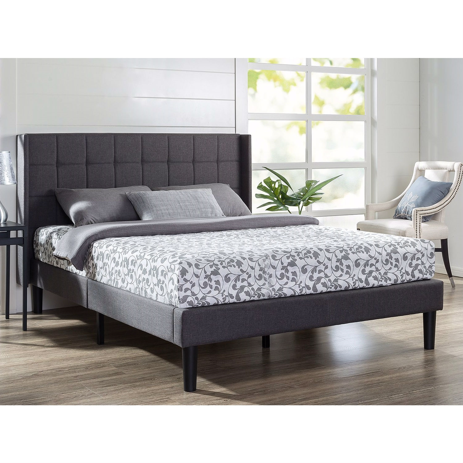 Queen Size Grey Wingback Upholstered Platform Bed Fastfurnishings Com