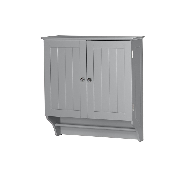 Gray 2 Door Bathroom Wall Cabinet With Towel Bar