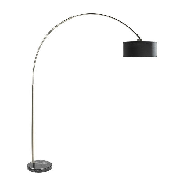 Modern 81-inch Tall Arch Floor Lamp with Black Drum Shade and Marble ...