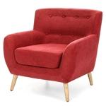 带有世纪中叶现代古典风格木脚的红色亚麻软垫扶手椅