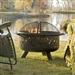 英寸青铜火坑,带有烧烤炉排火花筛盖和扑克