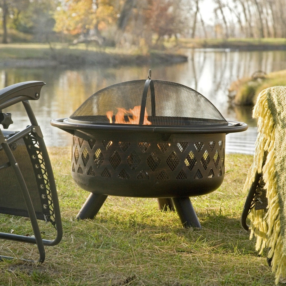 36 Inch Bronze Fire Pit With Grill Grate Spark Screen