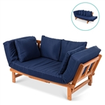 Navy Blue Outdoor Acacia Wood Convertible Sofa with 4 Removable Pillows
