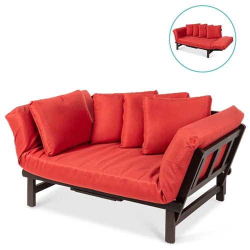 Rustic Red Outdoor Acacia Wood Convertible Sofa with 4 Removable Pillows
