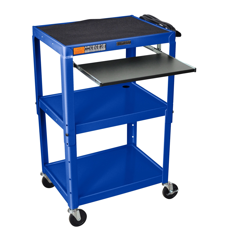 Mobile Stand Up Computer Cart Workstation Desk in Royal Blue