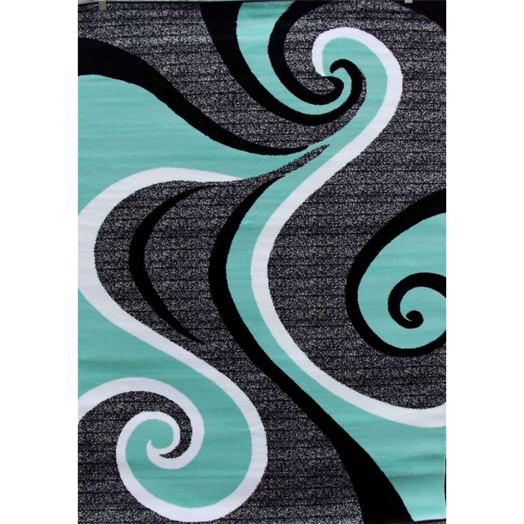 5 2 X 7 Modern Abstract Area Rug With Black Turquoise Swirl