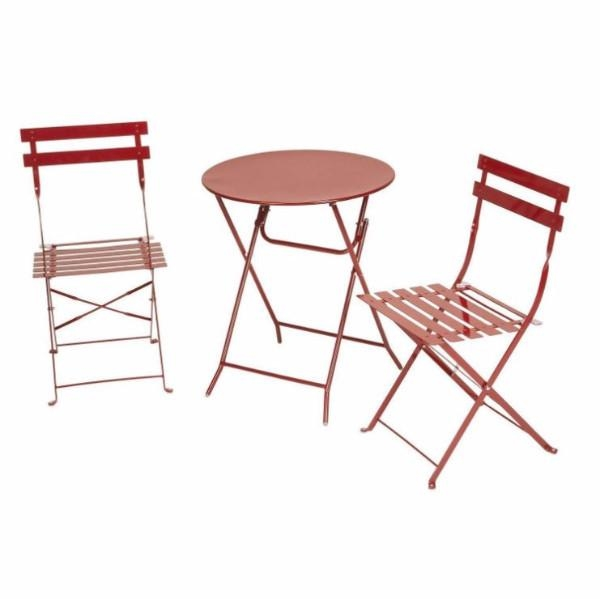 Red 3 Piece Folding Outdoor Patio Furniture Bistro Style Table And Chairs  Set