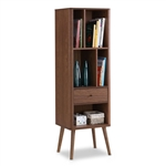Mid-Century Modern Bookcase Display Shelf in Walnut Wood Finish