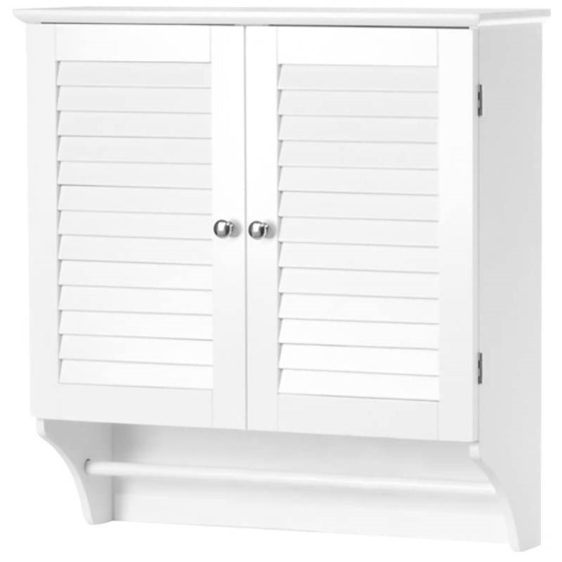 White Bathroom Wall Cabinet with 2 Louver Shutter Doors and Shelf ...