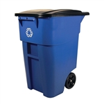 50 Gallon Blue Commercial Heavy-Duty Rollout Recycler Container