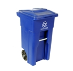 32 Gallon Blue Commercial Heavy-Duty Rollout Recycler Container