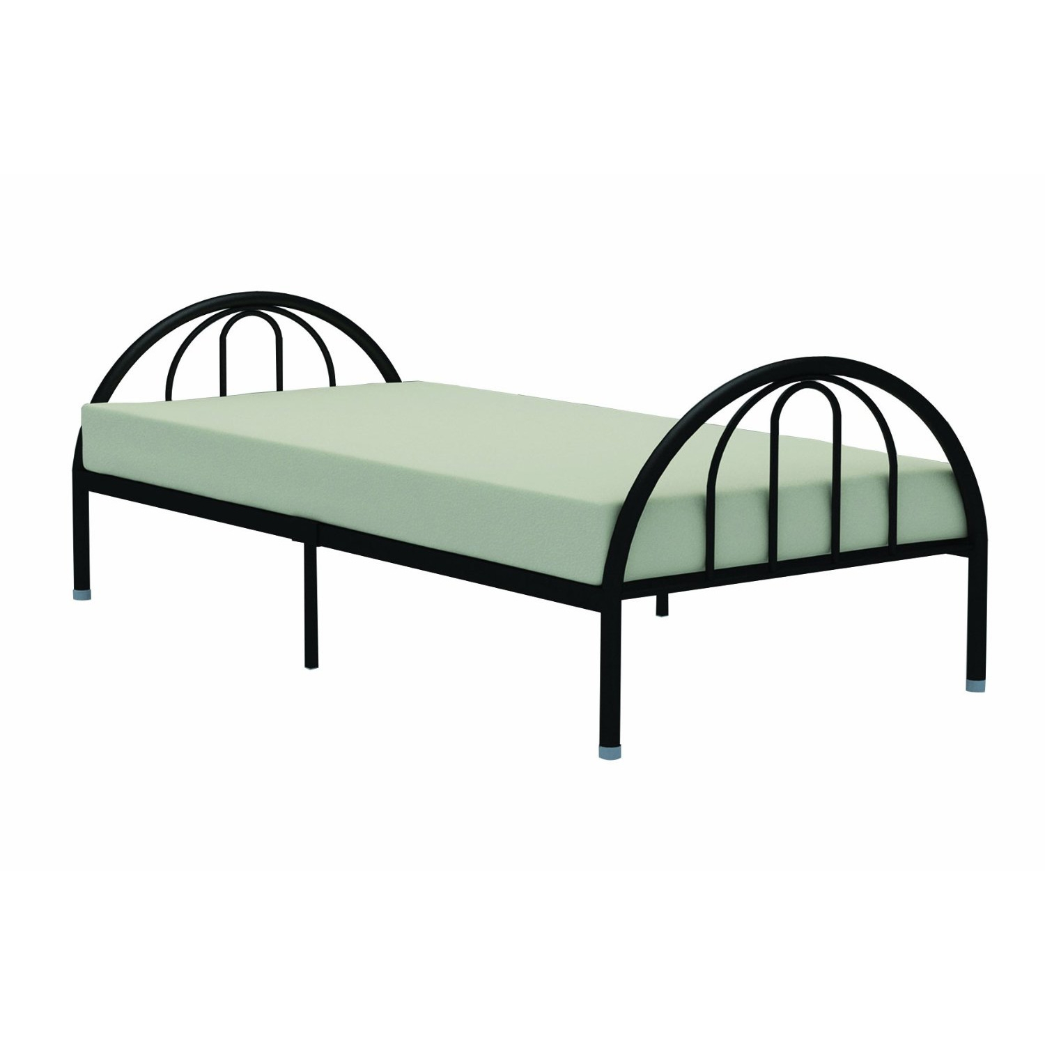 twin black metal platform bed frame with arch headboard footboard
