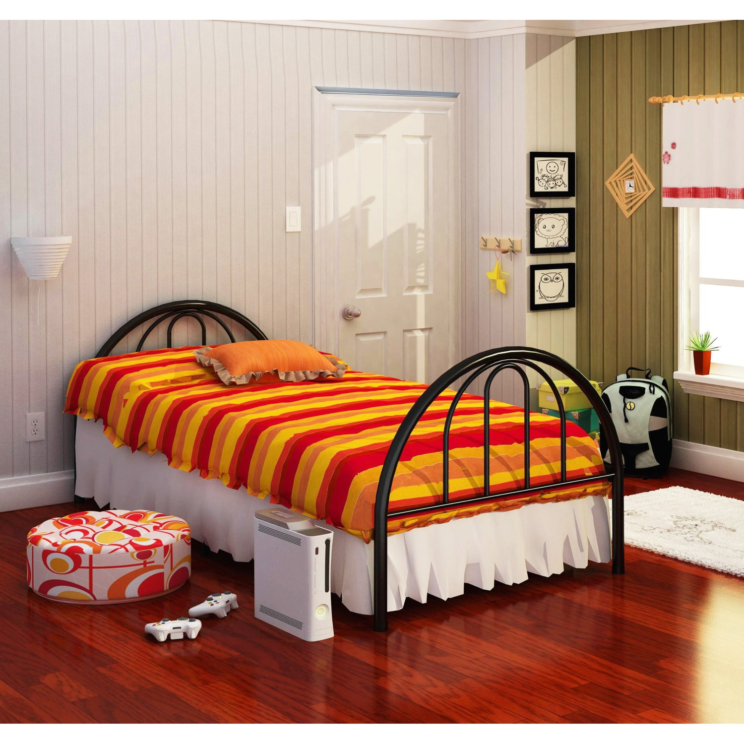 twin black metal platform bed frame with arch headboard  - retail price