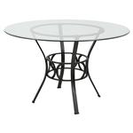 圆形英寸透明玻璃餐桌,黑色金属框架