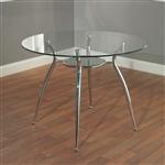 圆形玻璃台面餐桌,镀铬金属框架