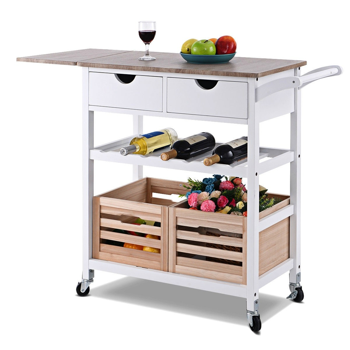 White Wood Kitchen Island Cart With Wine Rack And Wheels