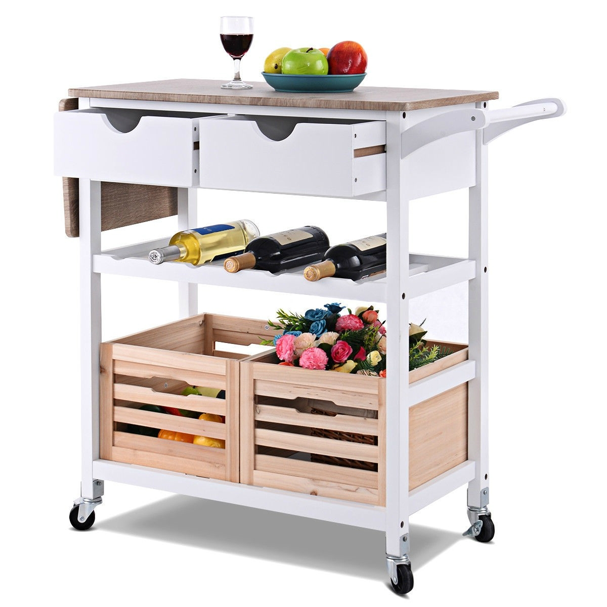 Astounding White Wood Kitchen Island Cart With Wine Rack And Wheels Short Links Chair Design For Home Short Linksinfo