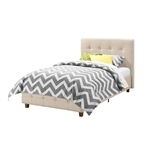 Twin size Tan Linen Upholstered Platform Bed Frame with Button-Tufted Headboard