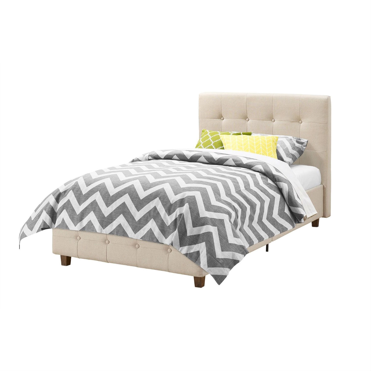 Twin Size Tan Linen Upholstered Platform Bed Frame With Button