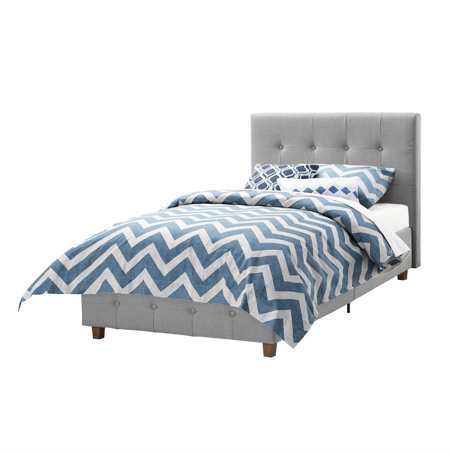 Twin Size Grey Upholstered Platform Bed Frame With On Tufted Headboard Fastfurnishings