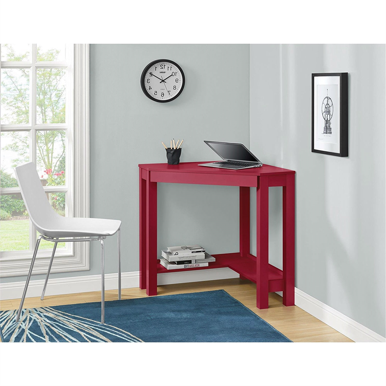 Red corner writing laptop desk with drawer great for - Corner desk for small space ...