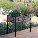 Sturdy Wood and Metal Raised Planter 36L x 18W x 29.5H in