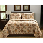 King Retro Moon Shaped Floral Medallion Reversible 3 Piece Quilt Set
