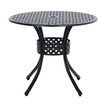 Round Metal 36-inch Outdoor Patio Table in Black Cast Aluminum