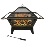Square Outdoor Steel Wood Burning Fire Pit with Star Design