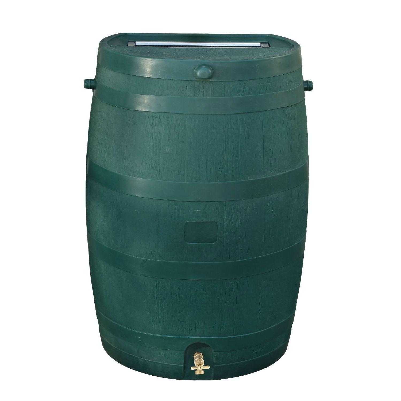 Green 50-Gallon Rain Barrel in UV Resistant Plastic w/ Brass Spigot