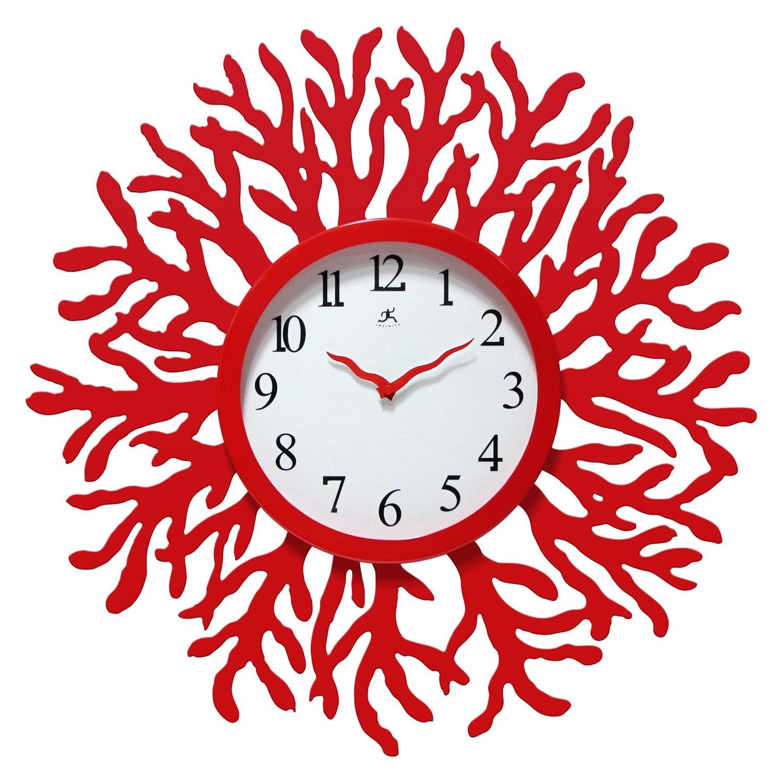 Red Coral Reef Modern Wall Clock Ocean Beach Theme 22
