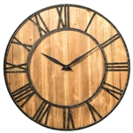 Round Wood 30-inch Roman Numeral Silent Wall Clock