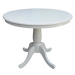 圆形英寸餐桌,白色木饰面和底座