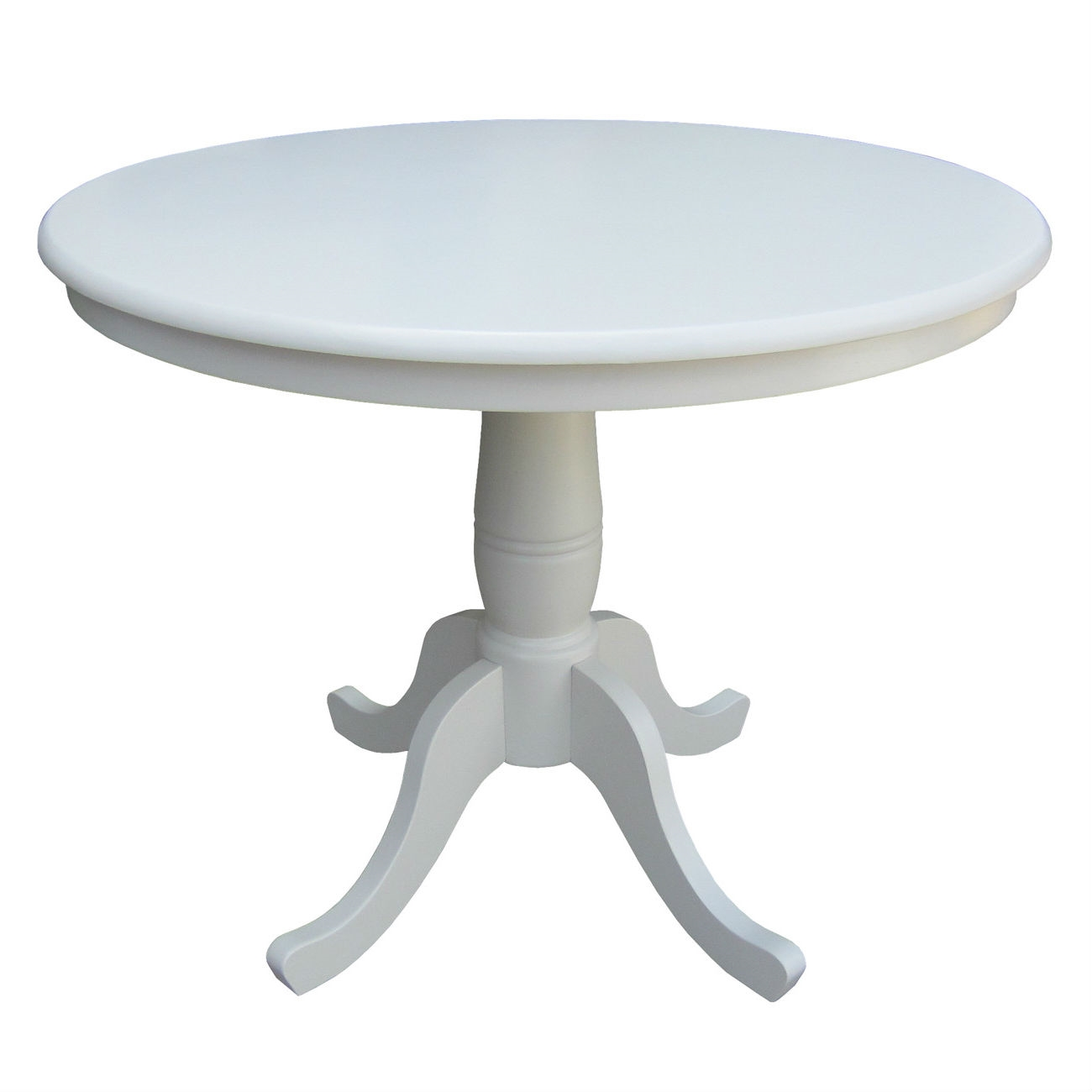 Round Inch Dining Table In White Wood Finish And Pedestal Base - 30 inch table base