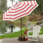 7.5-Ft Patio Umbrella in Red and White Stripe Outdoor Fabric and Metal Pole