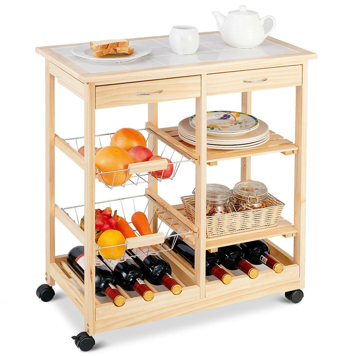 Mobile Wooden Kitchen Cart With Storage Drawers And Wine Rack Fastfurnishings