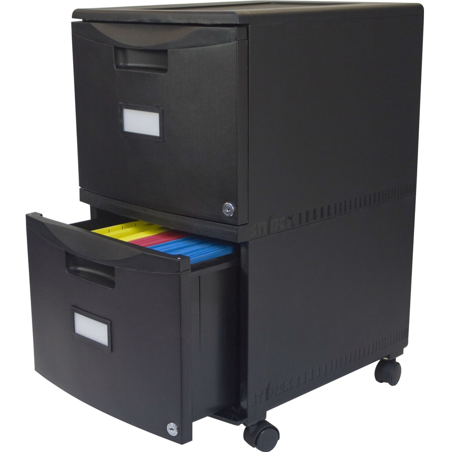 Black 2 Drawer Locking Letter Legal Size File Cabinet With Casters Wheels Fastfurnishings