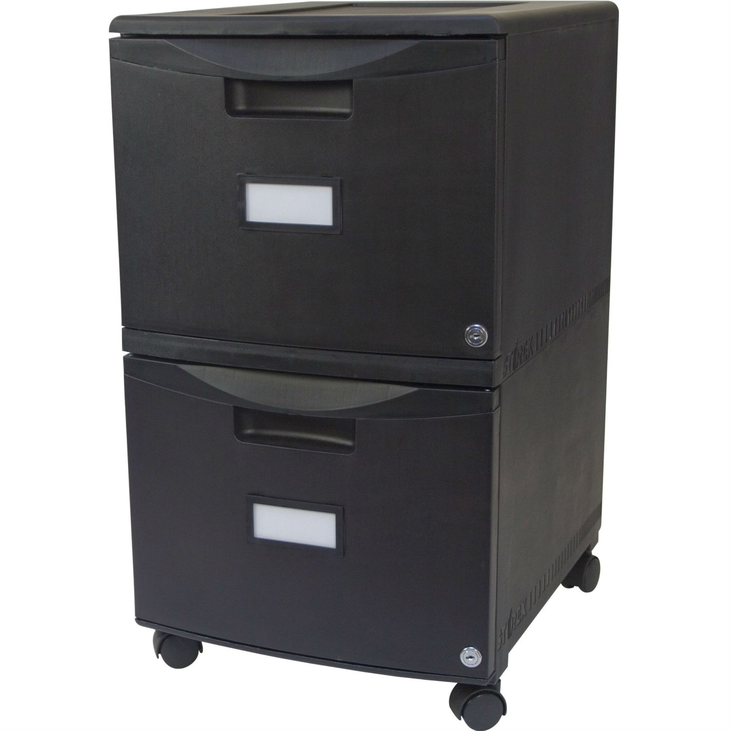 Black 2-Drawer Locking Letter/Legal size File Cabinet with Casters ...