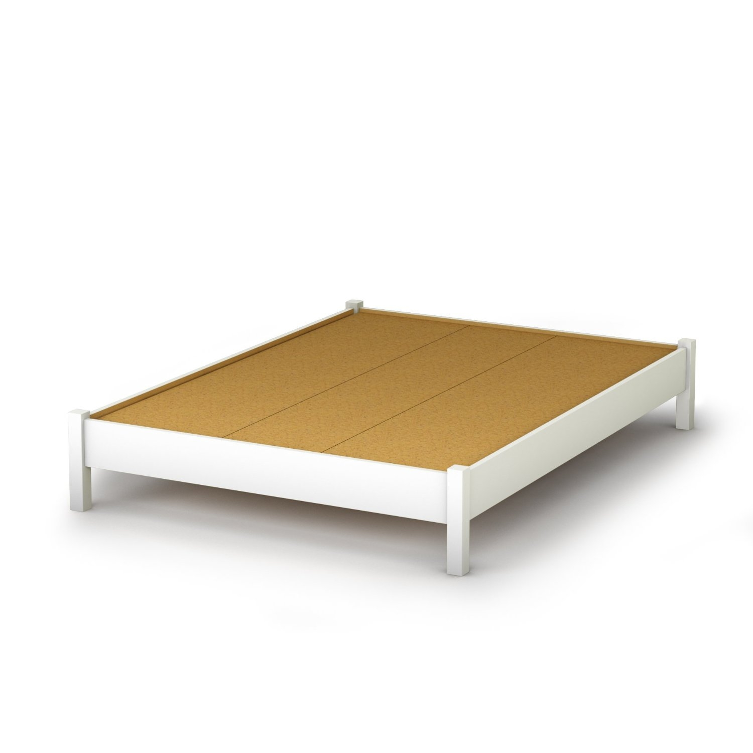 full size simple platform bed in white finish  modern design  - full size simple platform bed in white finish  modern design