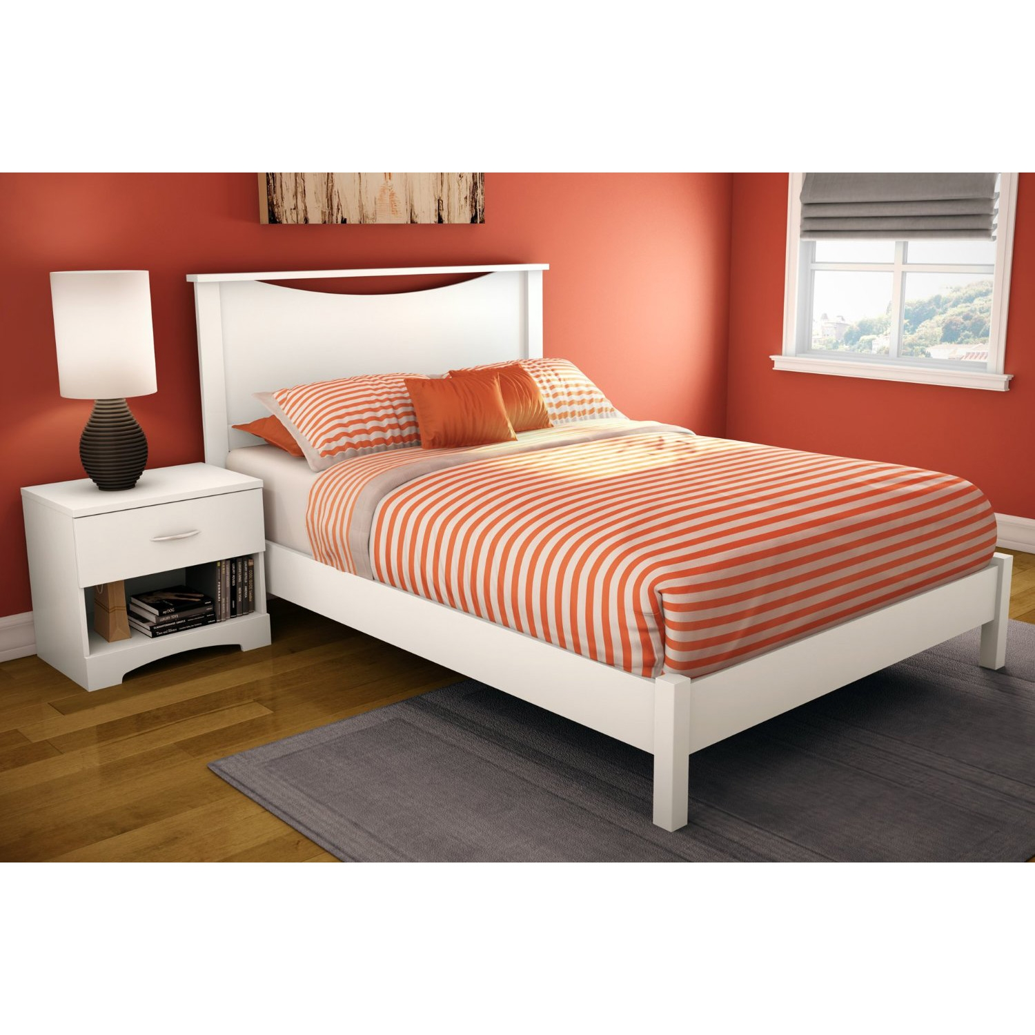full size simple platform bed in white finish  modern design  - retail price