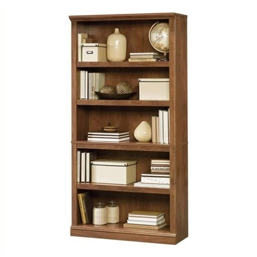 5-Shelf Bookcase in Medium Brown Oak Finish