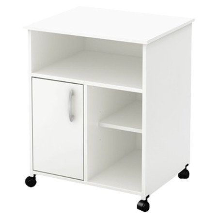 Delightful Modern Home Office Printer Stand Cart With Casters In White