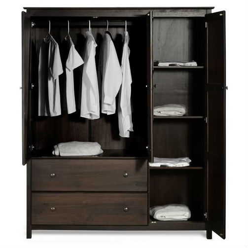 Espresso Wood Finish Bedroom Wardrobe Armoire Cabinet Closet Fastfurnishings