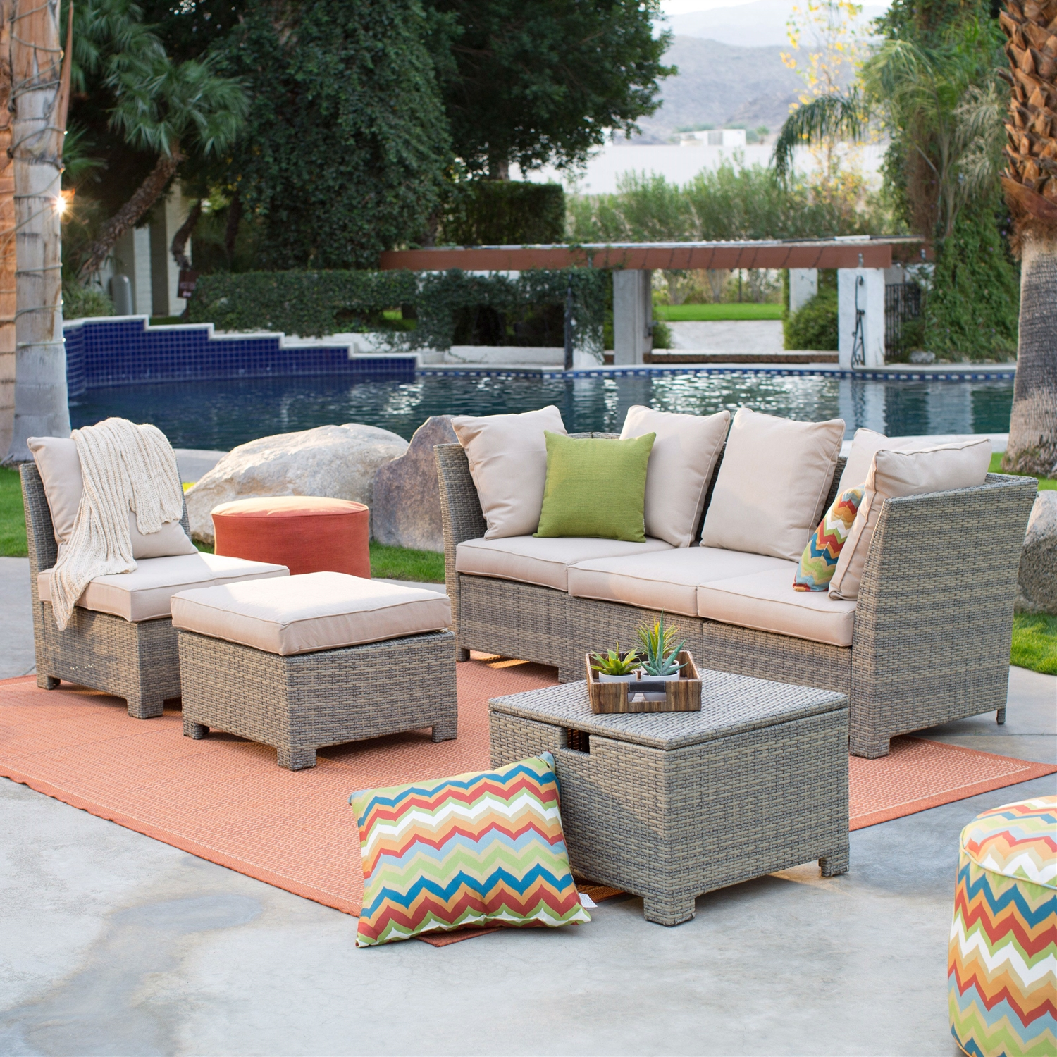 Resin Garden Furniture Natural Outdoor Wicker Resin Patio Furniture Conversation Set |  Fastfurnishings.com