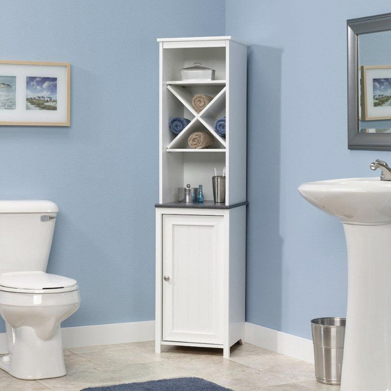 Bathroom Linen Tower With Open Shelving