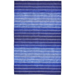 8' x 11' Striped Hand-Tufted Wool/Cotton Blue Area Rug
